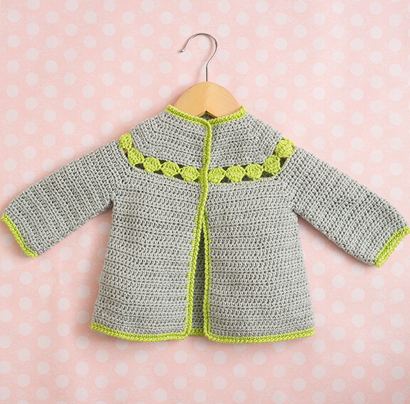 Lime-Trimmed Cardigan