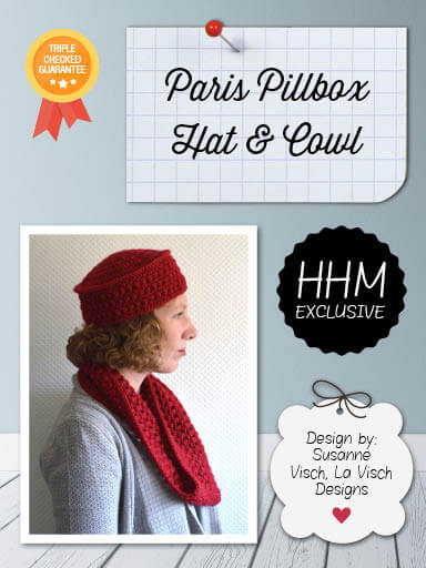 Paris Pillbox Hat & Cowl by La Visch Designs