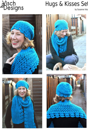 hugs & kisses hat & scarf set ebook by La Visch Designs