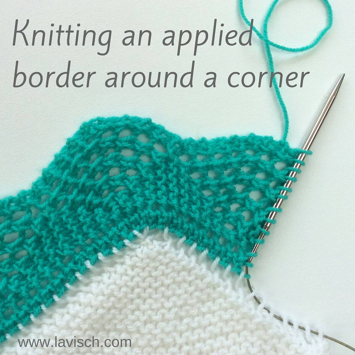 tutorial: knitted-on border - turning the corner - La Visch Designs