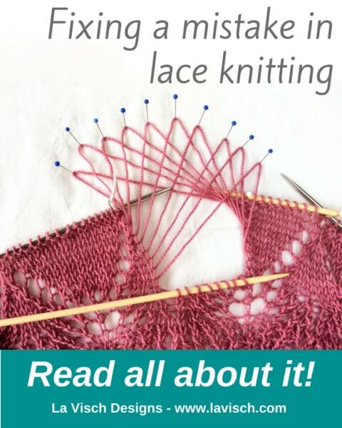 Fixing a mistake in lace knitting with La Visch Designs