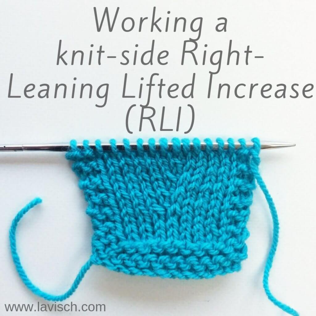 Tutorial working a knit-side right-leaning lifted increase.