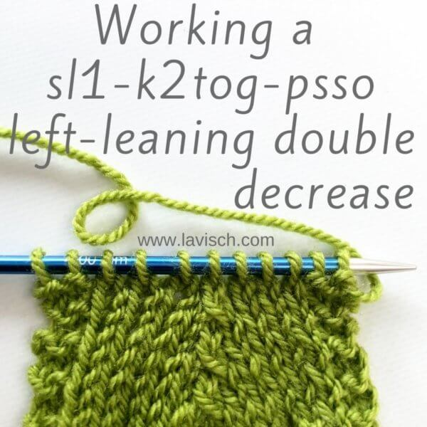 tutorial - sl1-k2tog-psso left-leaning double decrease