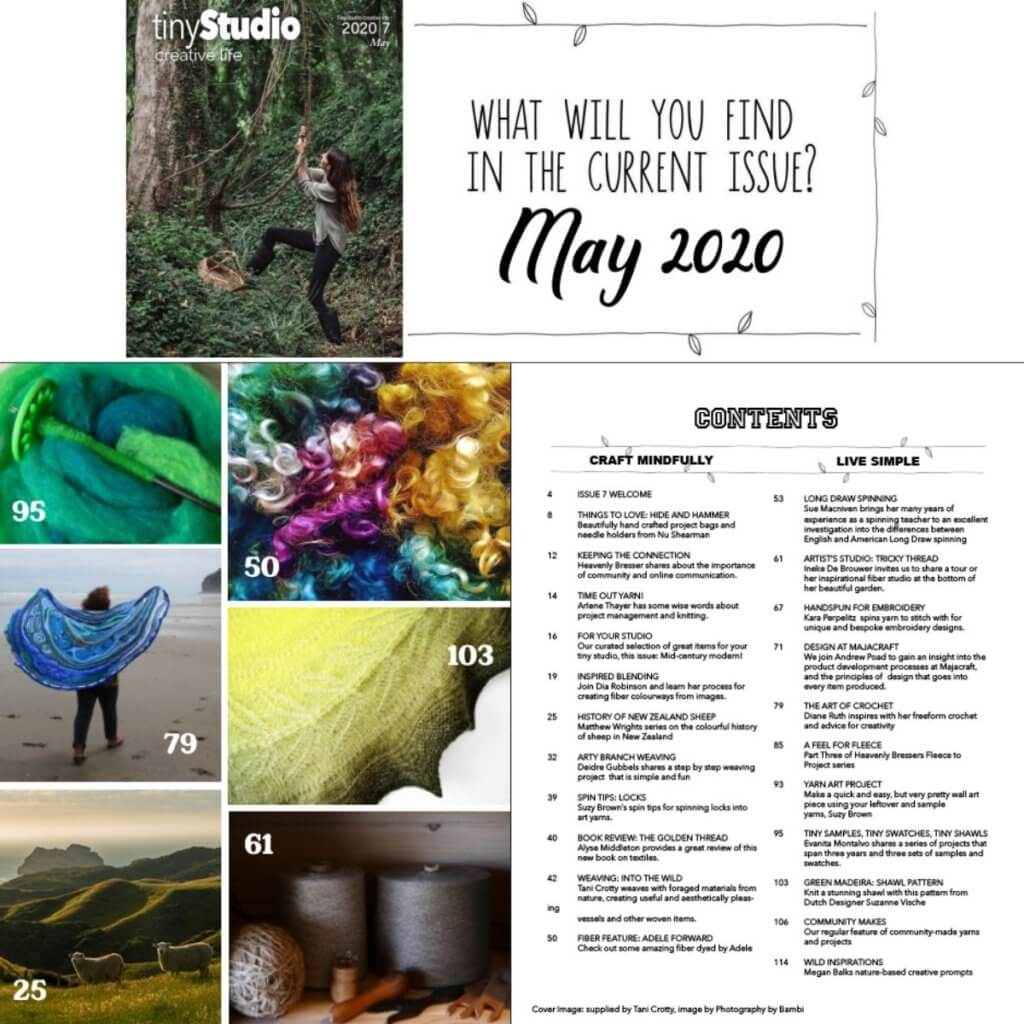 Q2 2020 tinyStudio Creative Life magazine table of contents