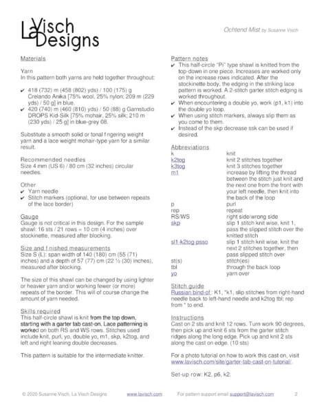 Data page Ochtend Mist shawl