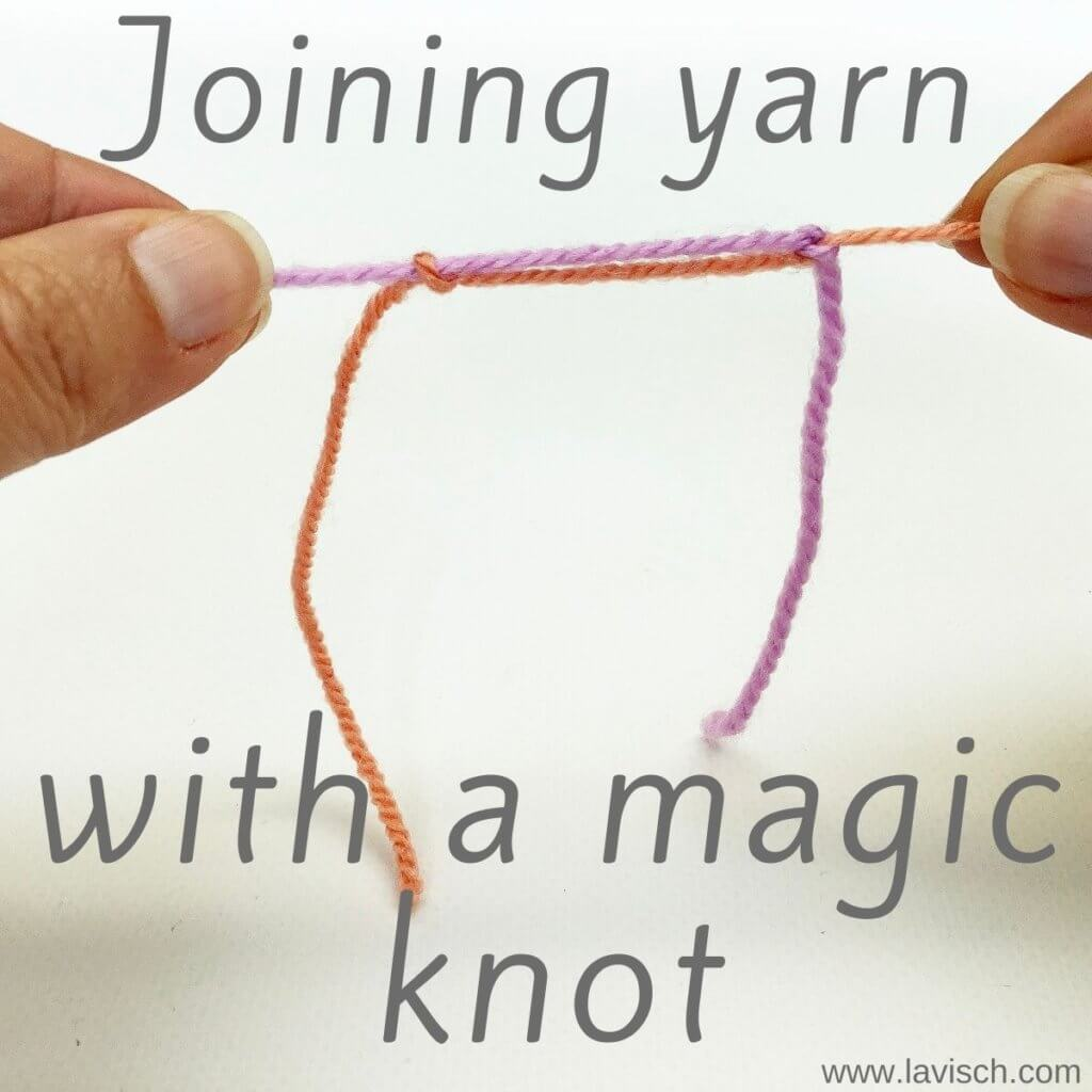 Joining yarn with a magic knot.
