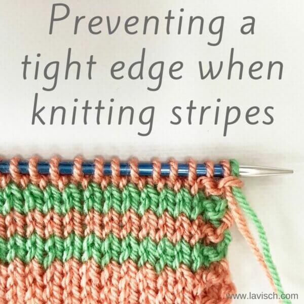 tutorial – preventing a tight edge when knitting stripes