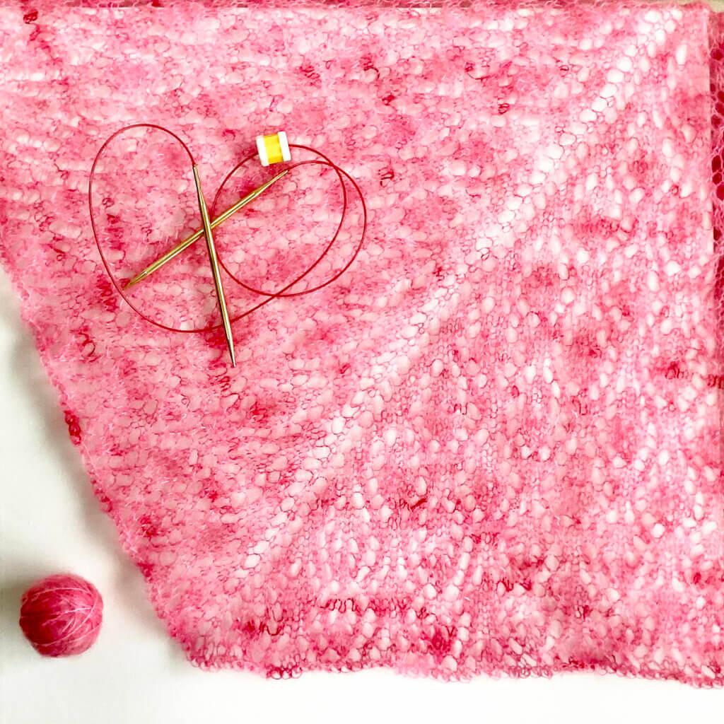 starwberry Finch shawl before blocking